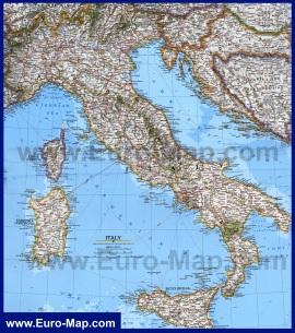 Подробная карта Италии с городами