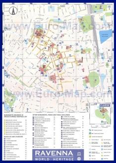 Подробная карта Равенны с достопримечательностями