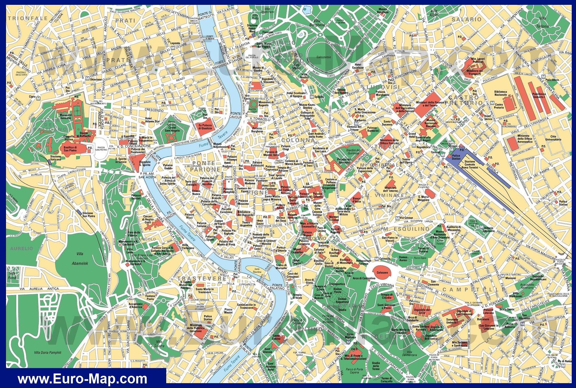 Карта центра города рим