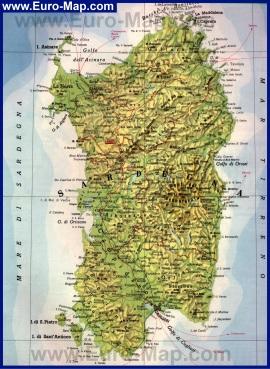 Подробная карта острова Сардиния