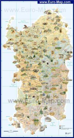 Туристическая карта Сардинии