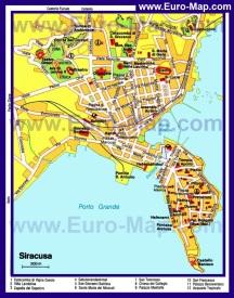 Туристическая карта Сиракузы с достопримечательностями