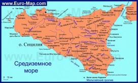 Карта острова Сицилия на русском языке