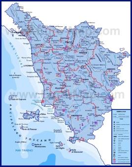 Подробная карта Тосканы