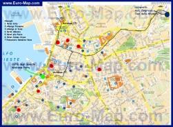 Подробная карта города Триест с достопримечательностями и отелями