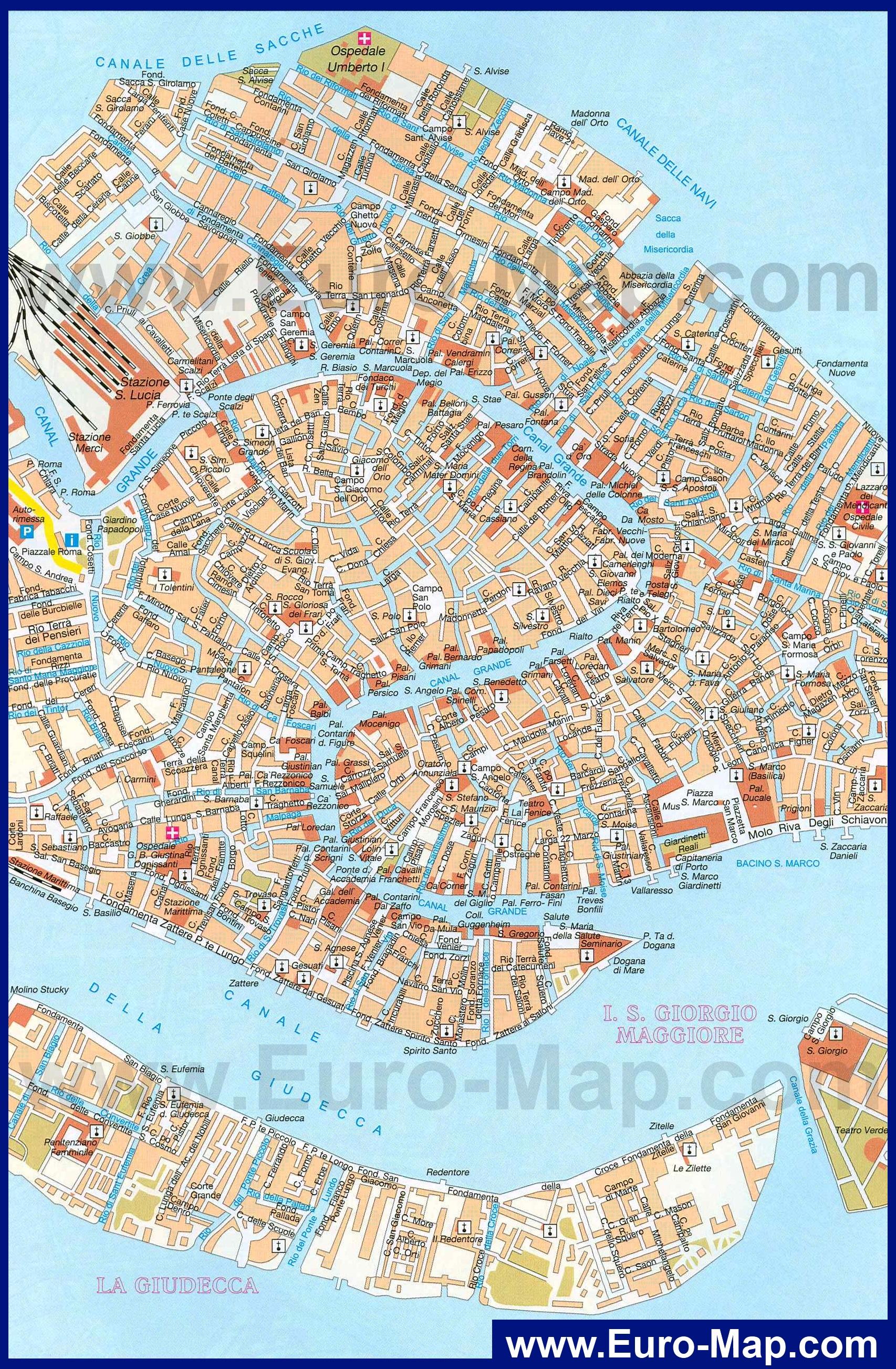 Turistu V Pomosh Veneciya Karta Goroda