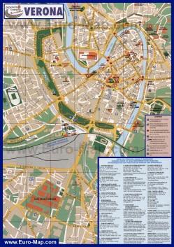 Карта города Верона с достопримечательностями