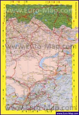 Автомобильная карта дорог восточного Казахстана