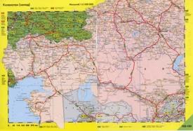 Автомобильная карта дорог западного Казахстана