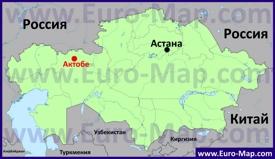 Актобе на карте Казахстана