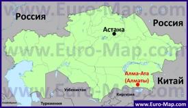 Алматы на карте Казахстана