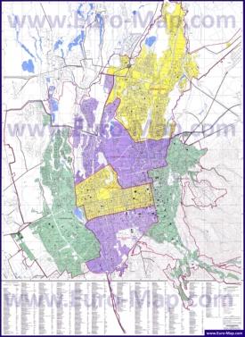 Подробная карта города Алматы с улицами и домами