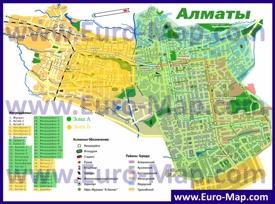 Районы и микрорайоны Алматы на карте