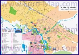 Туристическая карта Астаны с достопримечательностями