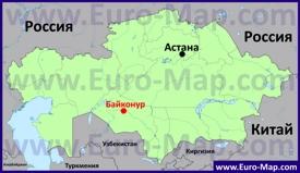 Байконур на карте Казахстана