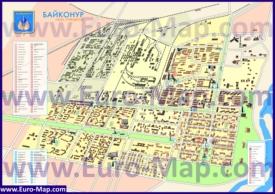 Туристическая карта Байконура с отелями и достопримечательностями
