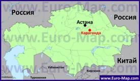 Караганда на карте Казахстана