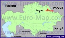Павлодар на карте Казахстана
