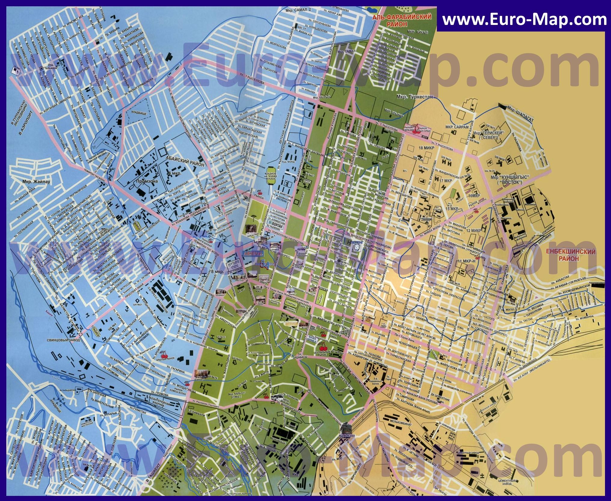 Карта города шымкент