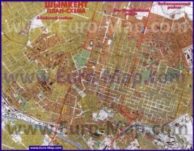Подробная карта Шымкента с улицами и домами