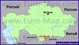 Шымкент на карте Казахстана