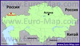 Уральск на карте Казахстана