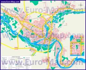 Туристическая карта Усть-Каменогорска с гостиницами, достопримечательностями, ресторанами и магазинами