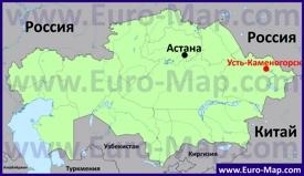 Усть-Каменогорск на карте Казахстана