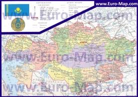Карта Казахстана по областям