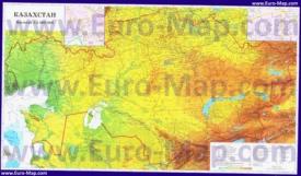 Подробная физическая карта Казахстана с городами и поселками