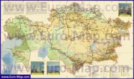 Туристическая карта Казахстана с достопримечательностями