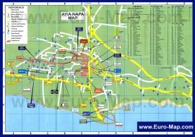Туристическая карта Айя-Напы с отелями