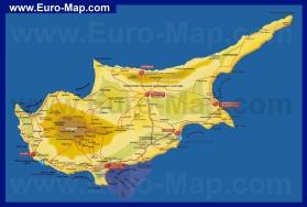 Карта Кипра на русском языке с курортами