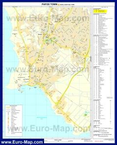 Подробная карта Пафоса с отелями