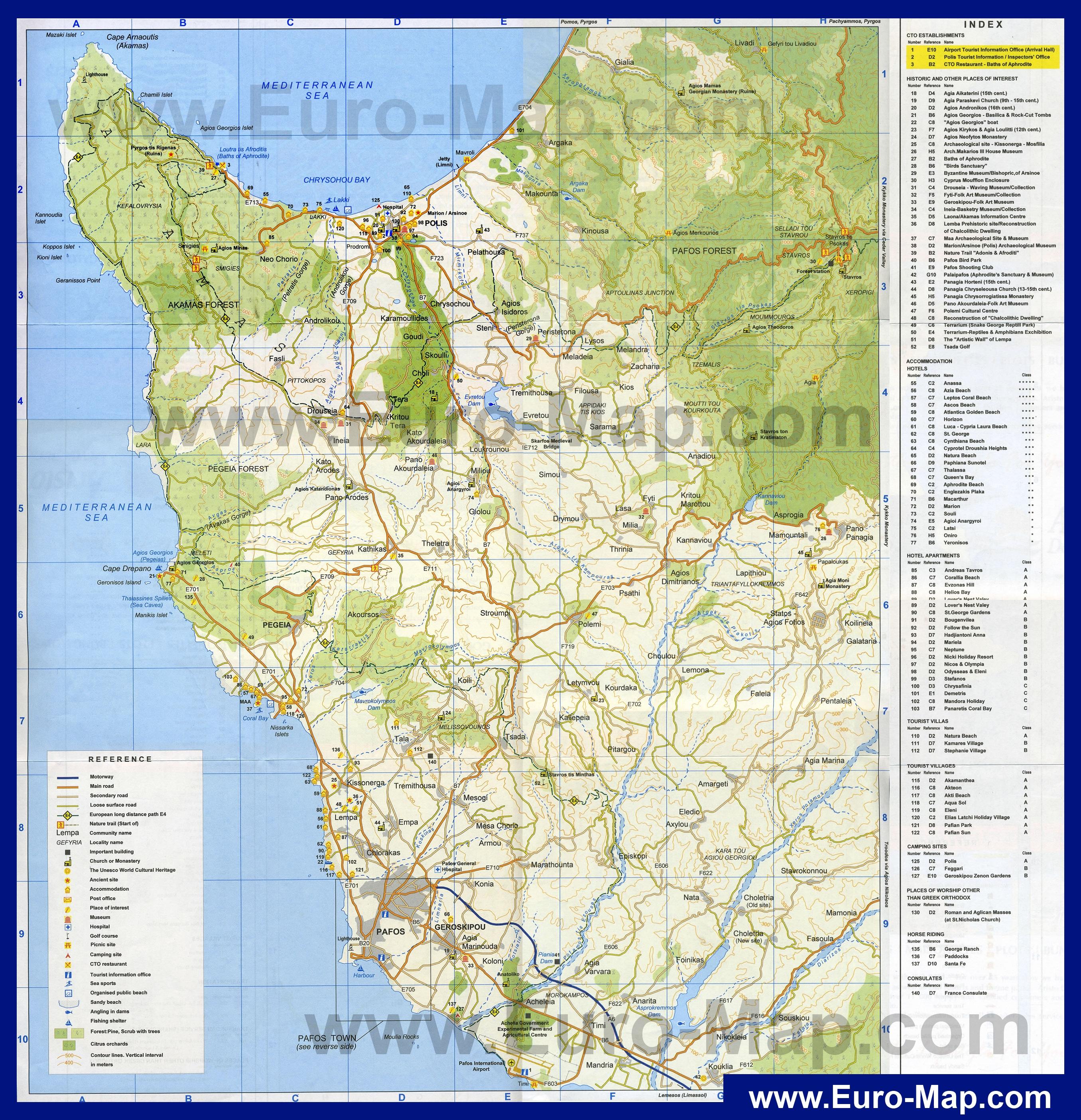 Туристическая карта пафоса с