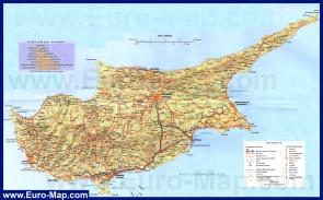 Подробная туристическая карта Кипра