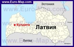Кулдига на карте Латвии