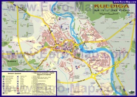 Подробная карта города Кулдига с достопримечательностями