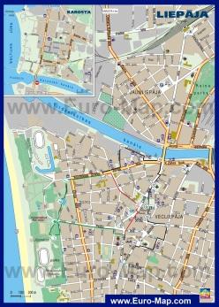 Подробная карта Лиепаи с отелями