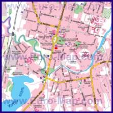 Карта центра Резекне с достопримечательностями