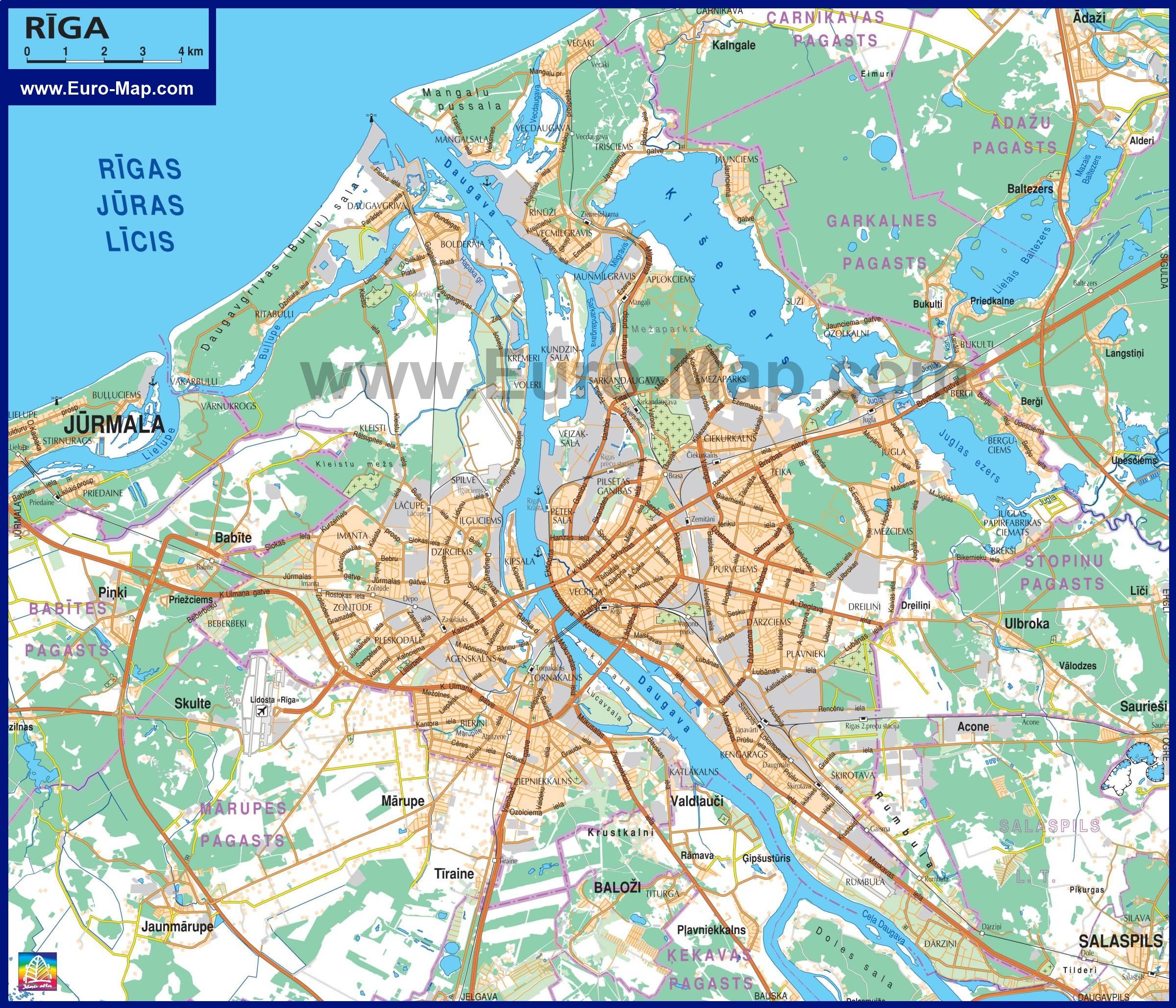 Подробная карта риги с окрестностями