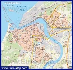 Карта города Вентспилс с достопримечательностями