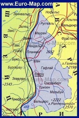 Карта Лихтенштейна на русском языке