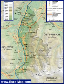 Подробная карта Лихтенштейна