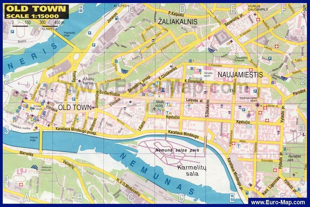 Карта центра Каунаса