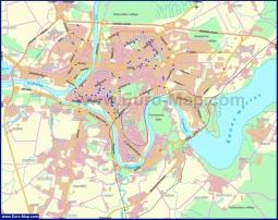 Карта Каунаса с окрестностями