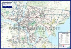 Подробная карта города Каунас с маршрутами транспорта