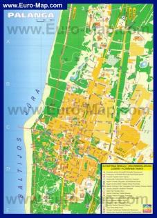 Подробная карта Паланги с достопримечательностями