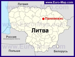 Паневежис на карте Литвы