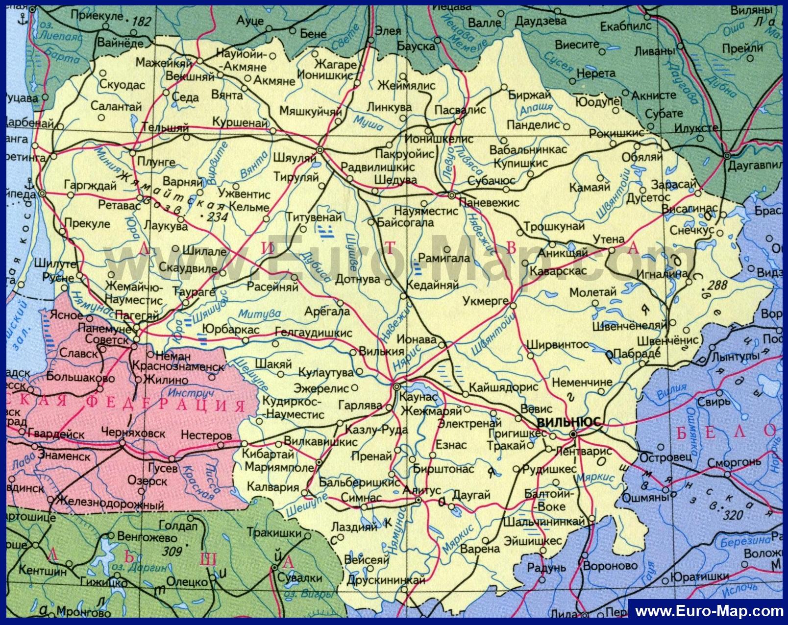 Карты Литвы | Подробная карта Литвы на русском языке ...: http://euro-map.com/karty-litvy/